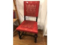 Hall / bedroom chair - lovely carved detail , barley twist frame .
