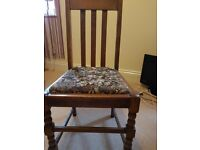 Vintage oak table and 4 chairs for sale