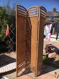 Wicker 3 panel Room Divider in brand new condition- vintage style