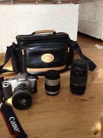 Canon EOS 300 with lenses and bag