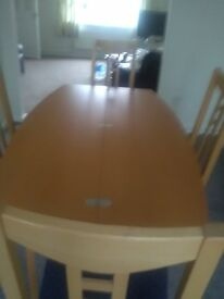 Beech effect Dining table and 4 Chairs compact space saver
