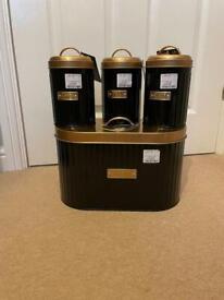 Kitchen Bread Bin and Storage Tins