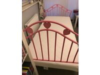Children's Pink Single Metal Framed Bed with Silentnight Mattress
