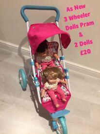 Dolls Pram Buggy Stroller Pram Twin with 2 Dolls AS NEW