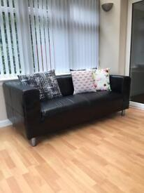 Black Leather Sofa (3 Seater) £50