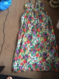 Ladies Summer Dress Halterneck size 12 - flower multi colour