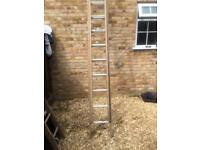 Wooden ladders 2 runners with metal treads 4m/8m