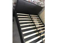 Brown Faux Leather double bed with 4 drawers inderneath