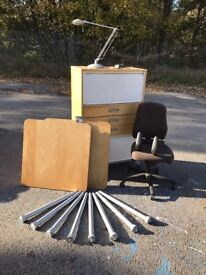 Office furniture set, roller front cabinet, desk, chair, desk lamp IKEA