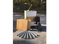 Office furniture set, roller front cabinet, desk, chair, desk lamp IKEA