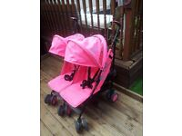 BARGAIN NEW PINK NEON DOUBLE BUGGY