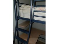 JAY~BE high rise single bed +1 (futon) with integral desk - BLUE
