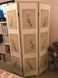 Shabby chic vintage 3 tier wooden panel screen