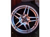 "4 x Nissan 17"" alloys + tyres"