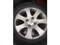 """15"""" Peugeot 308 alloys, not bad tyres £80"""