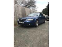 Audi A4 2003 Navy Cabriolet / Convertible - Excellent condition - Low Mileage - BARGAIN @ £1950
