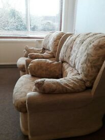 3 piece suite, two single and one 3 seater. good condition. Must be collected by tuesday.