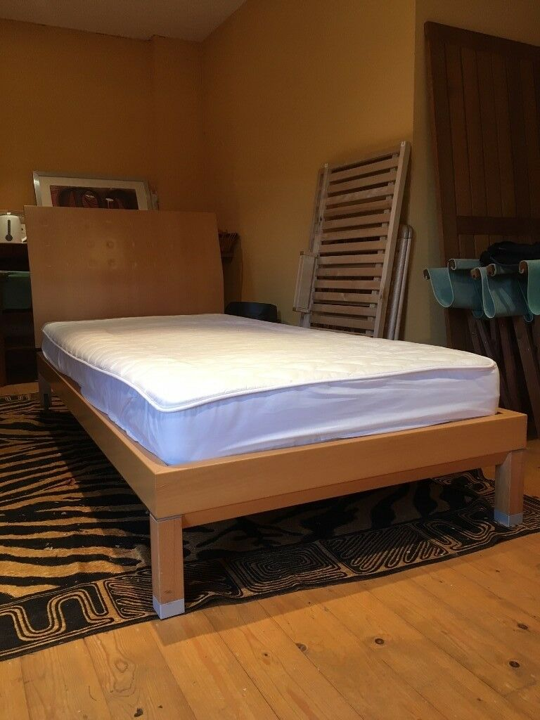 Two Stylish Ligne Roset Beech Frame Single Beds Including Mattresses