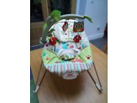 Baby Bouncer seat - happy forest animals - fisher price - calming vibrations