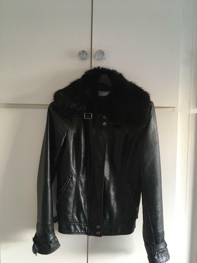 Wallis Faux Leather Jacket with fur collar