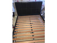 Second hand king size bed frame, dark brown faux leather, no mattress, double available too