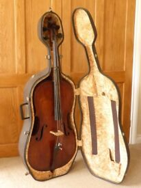 LOVELY c19th PROBABLY FRENCH FULL SIZE CELLO / VIOLONCELLO IN HARD CASE