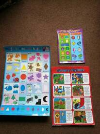 Children's learning posters - first colours, and 2D and 3D shapes, nursery rhymes