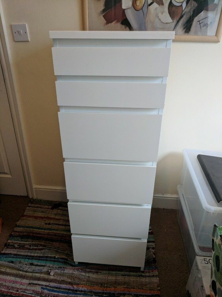 Tall White Chest Of 6 Drawers With Mirror