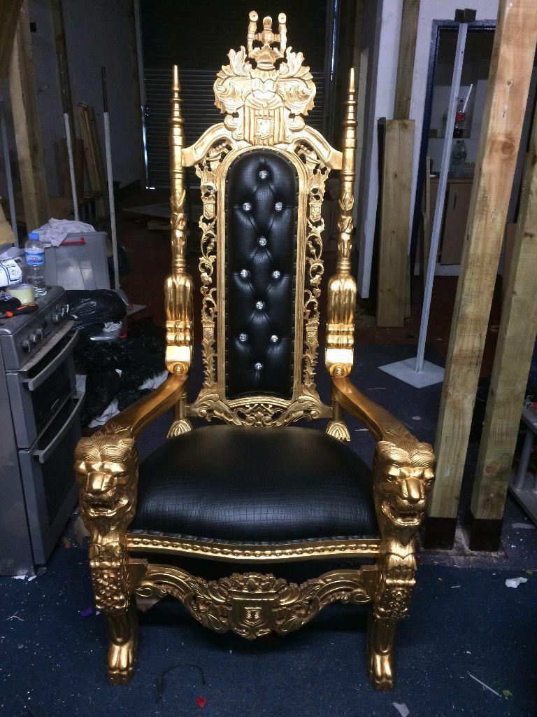 2x Gold Lion King Queen Throne Chairs - Black Leather - Asian Wedding  Furniture Hotel Ornate - 2x Gold Lion King Queen Throne Chairs - Black Leather - Asian