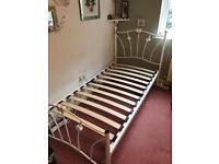 ** NEXT SINGLE BED FRAME WITH MATTRESS - WHITE METAL **
