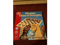 Wooden Chess & Draughts