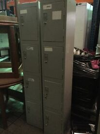 2 Sets Personel / Valuables Lockers (4 lockers in each) With keys. **Price is for 1 set**