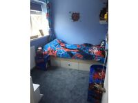 Boys spiderman complete bedroom bundle curtains bedding toy box bedside table bin lamp like new