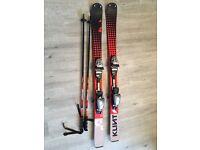120cm Klint skis plus bindings and poles