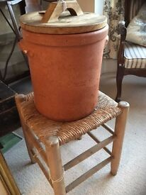 Vintage Large Earthenware Pot with Wooden top 35 cm height 30 cm diameter
