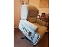 Single motor lift and rise recliner chair made by Sherborne