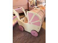 Jojo Maman Bebe toy pram, cot & highchair set