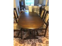 Solid Oak Dining Table and and 6 chairs.