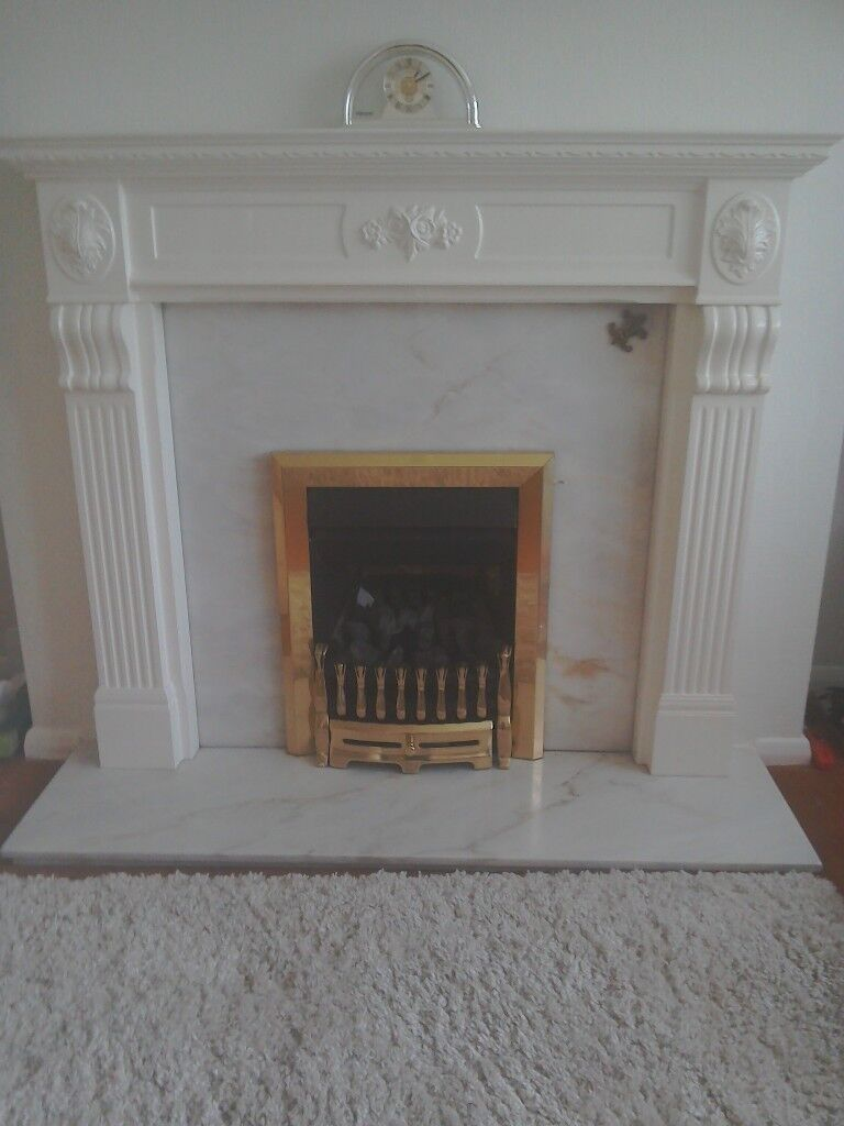 Beautiful Adam Style Fire Surround Marble Hearth and Inset including Gas Fire, Excellent Condition