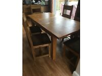 Solid Wood Extending Kitchen Dining Table With 6 Wooden Chairs Suede Seat Covering