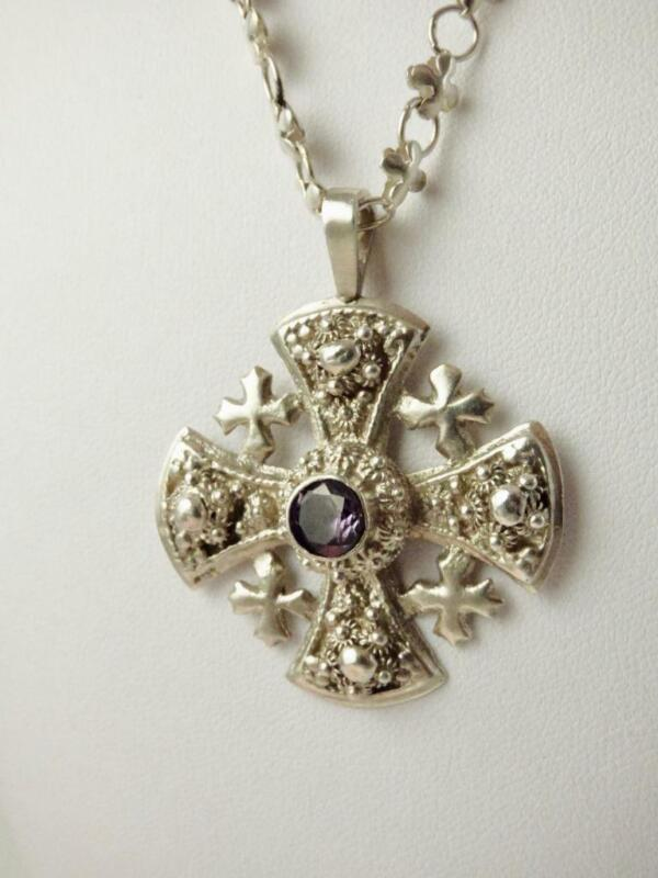 """Antique Sterling Silver Holy Land MALTESE CROSS Amethyst Pendant Necklace 19.5"""""""