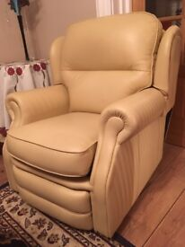 Cream leather manual reclining chair from smoke free home