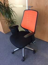 Black/Orange/Chrome office chair, mesh back, fully adjustable, great for office or home