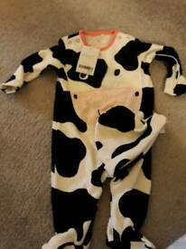 NEXT COW Baby grow and hat