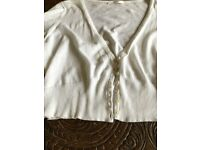 Ladies White Cotton Cardigan from M&S Size 16