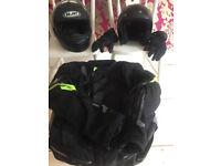 Richa Jacket ( L ) , Arai Helmet and spare ( L ) , gloves and chain