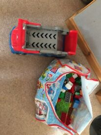 childrens mega blocks and vehicle excellent condition
