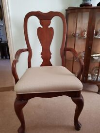 Dark wood Dining Table & 6 Chairs, 4 standard chairs and 2 carvers. Good condition, collection only