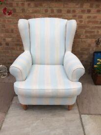 Wingback fireside/nursery chair, duck egg blue stripe