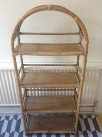 Vintage Rattan Shelf /Bookcase Bamboo Wicker Shabby Chic Retro Plant Stand Arch